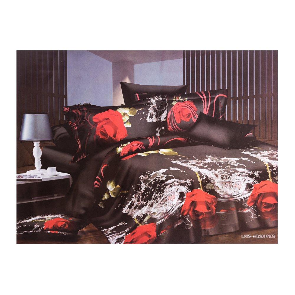 Lenjerie de pat 3D Ralex imprimeu cu trandafirii rosii
