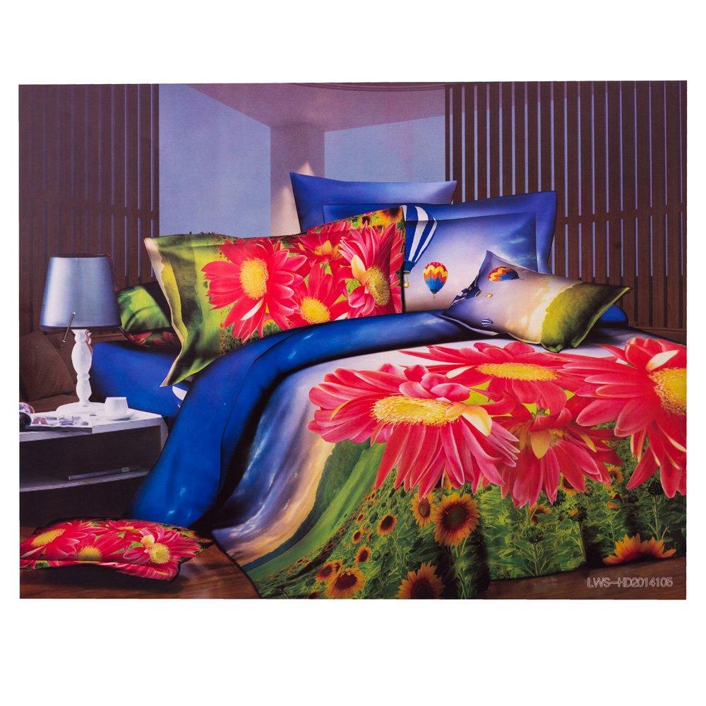 Lenjerie de pat 3D Ralex 160x215 imprimeu camp de floarea soarelui