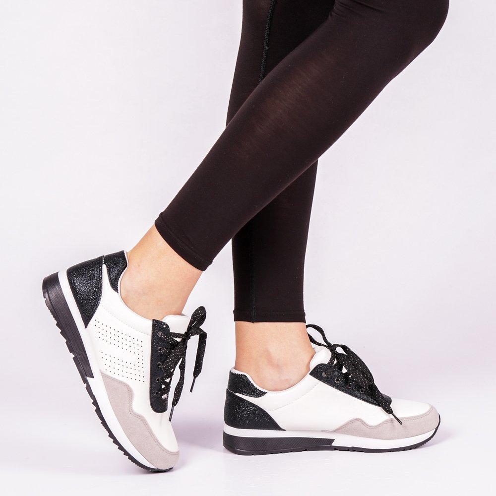 Pantofi sport dama Vera alb cu negru