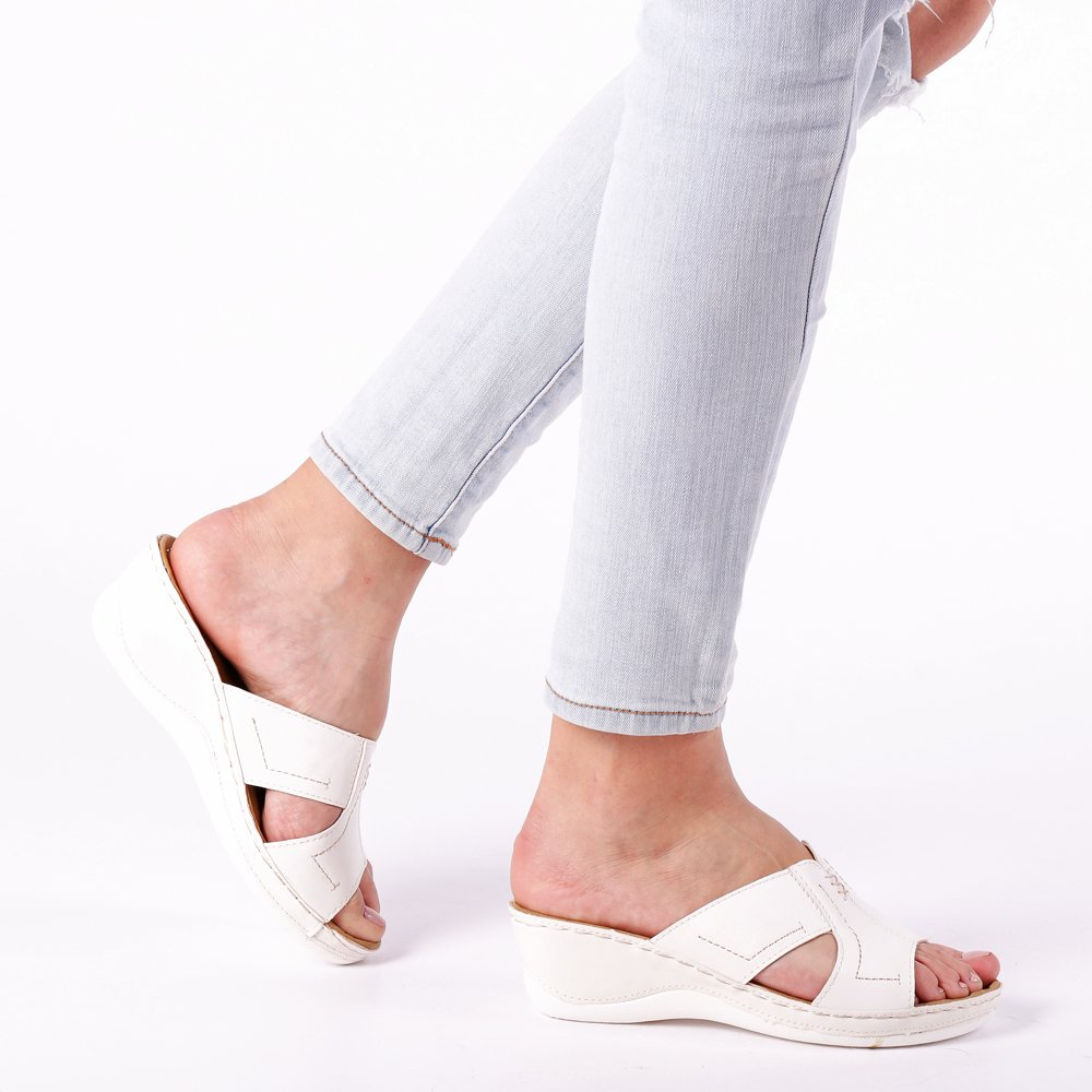 Sandale dama Sloane albe