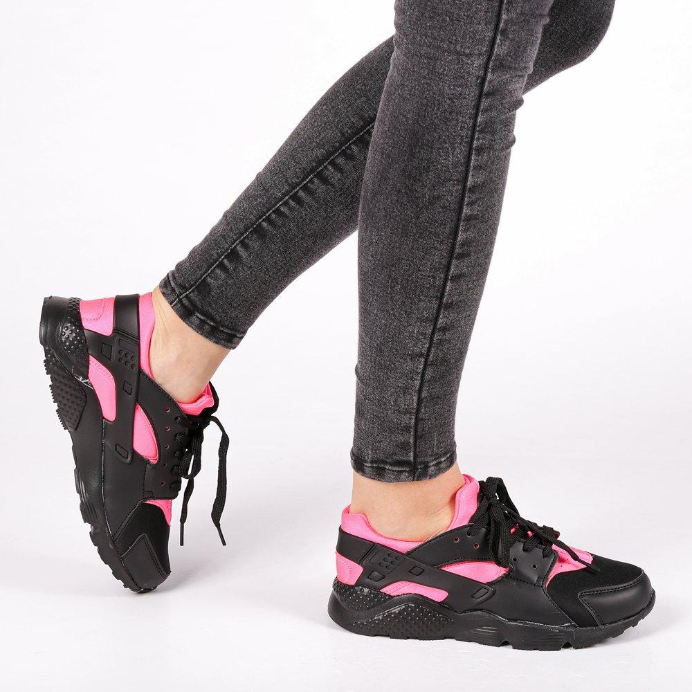 Pantofi sport dama Winifred negru cu portocaliu