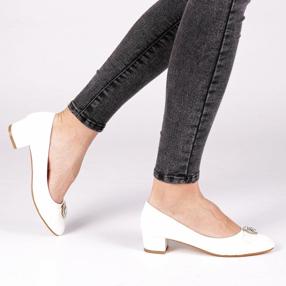 Pantofi dama Magnolia albi