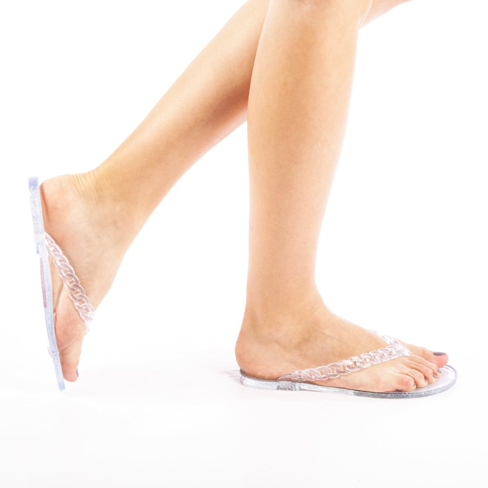Papuci dama Olivia argintii