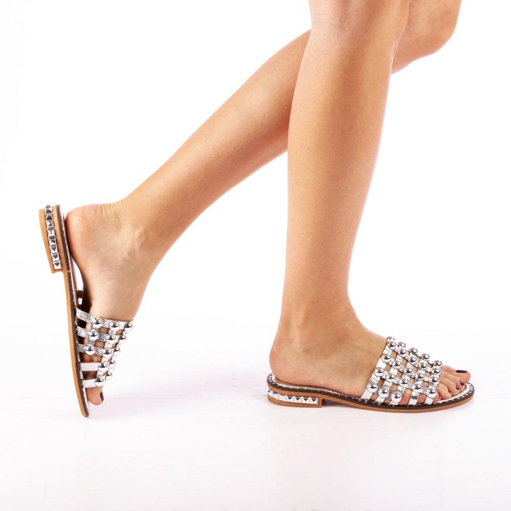 Papuci dama Ines argintii