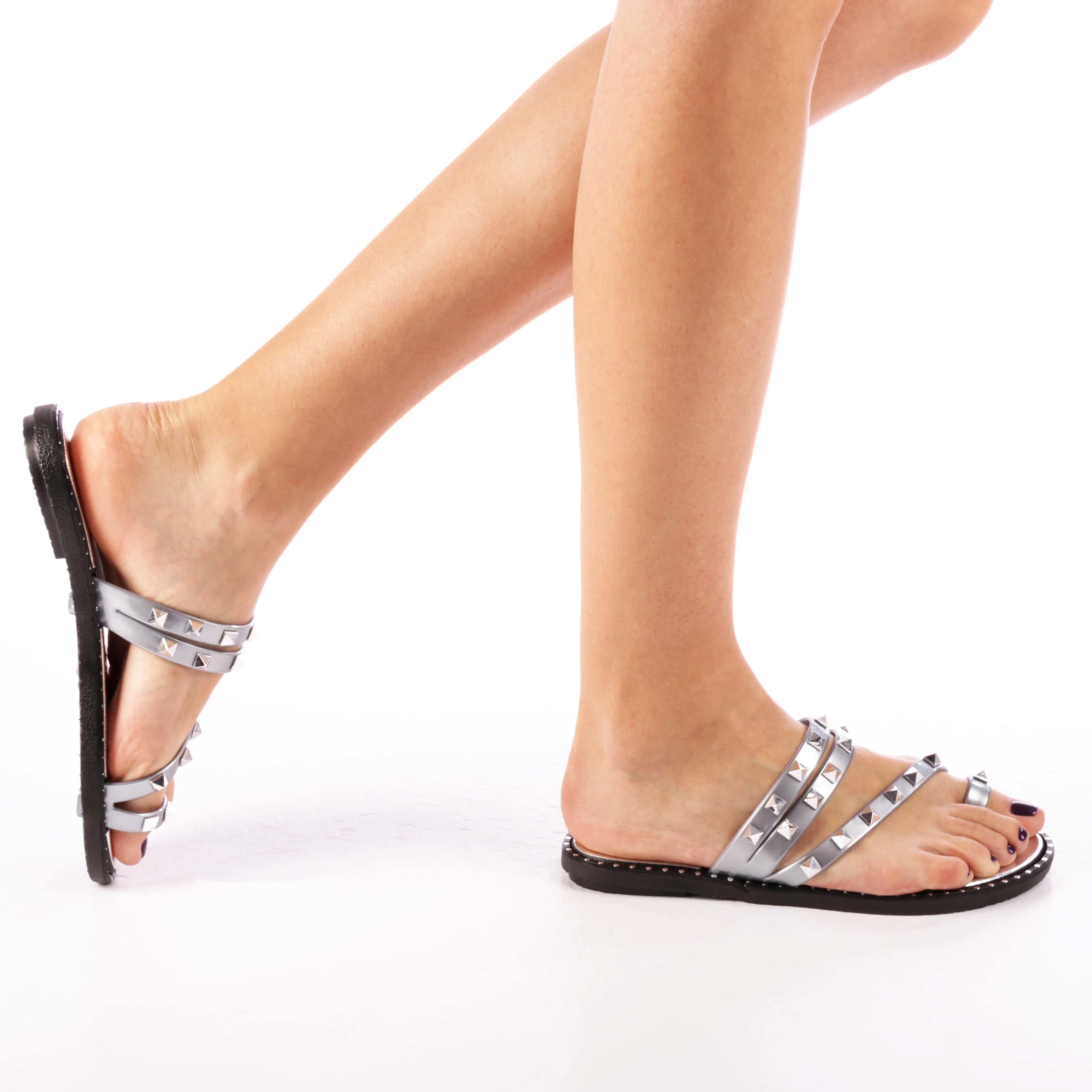 Papuci dama Jemma argintii