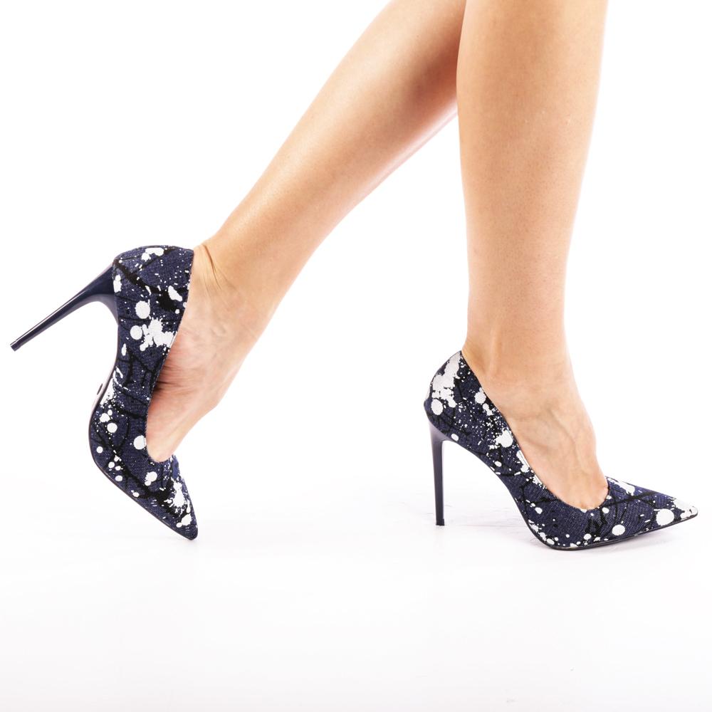 Pantofi cu toc dama Elisabeta albastru jeans