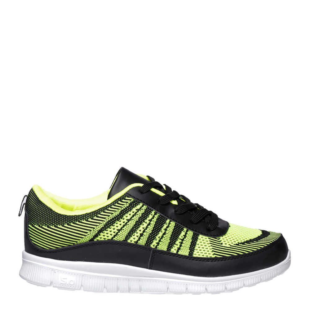 Pantofi sport barbati Sebastian negru cu verde