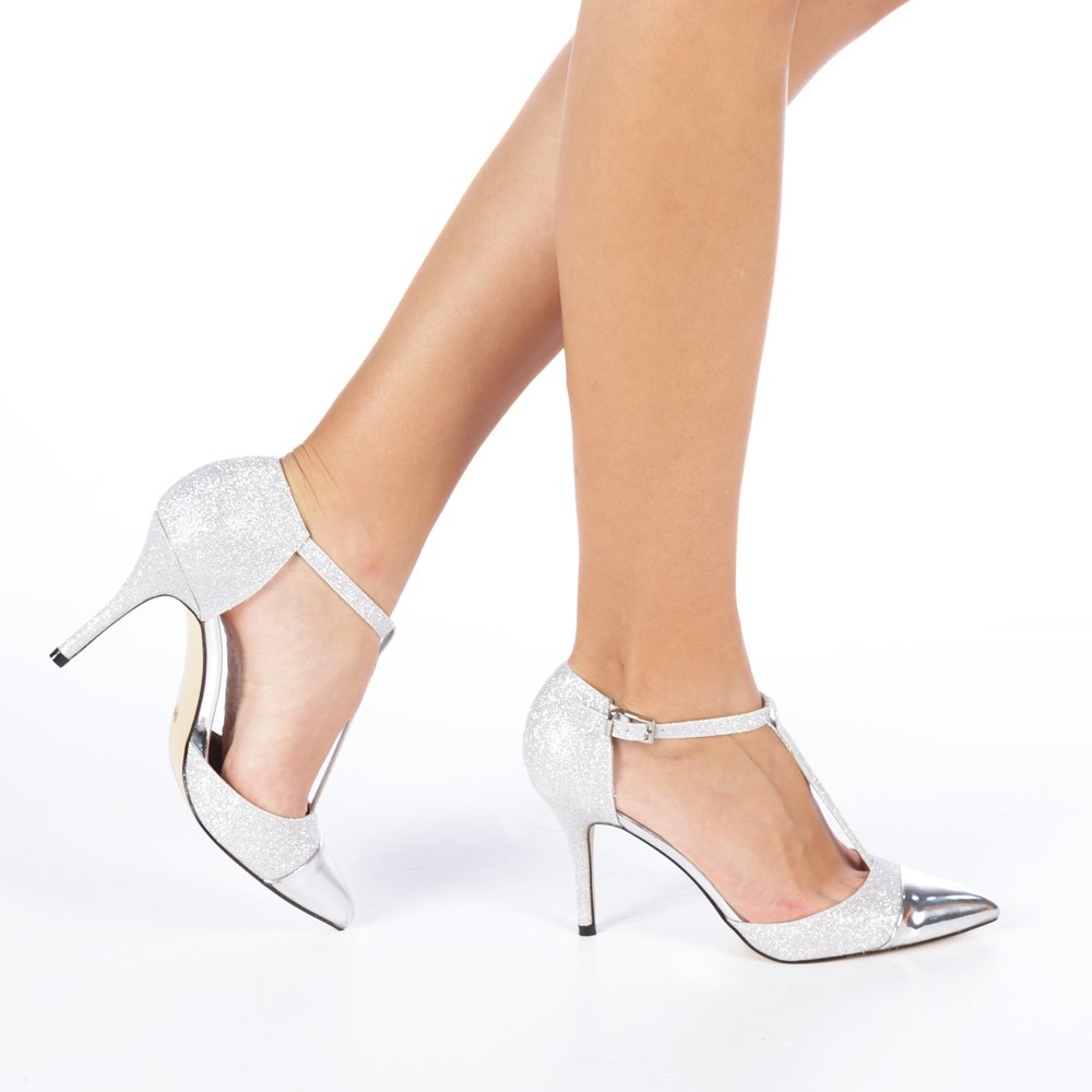 Pantofi cu toc dama Zanetta argintii