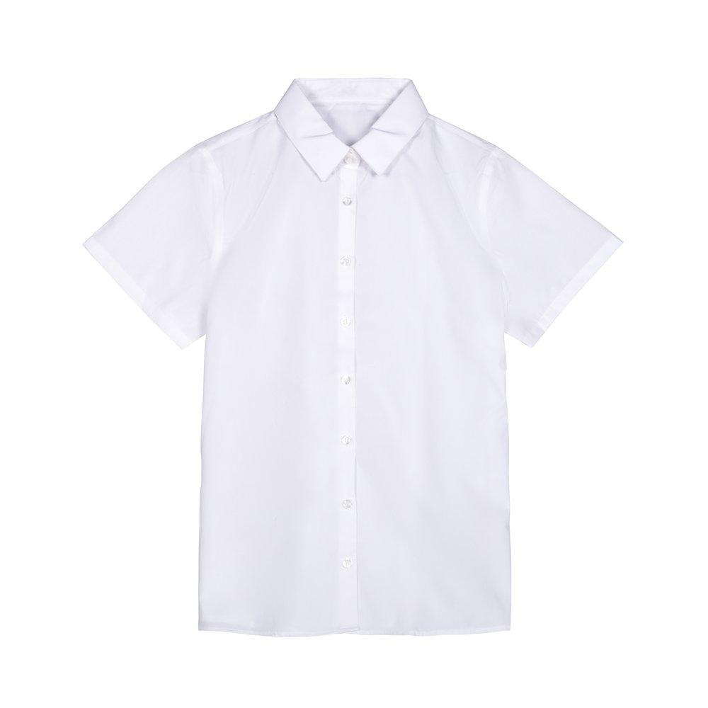 Set 2 camasi fete George School maneca scurta albe