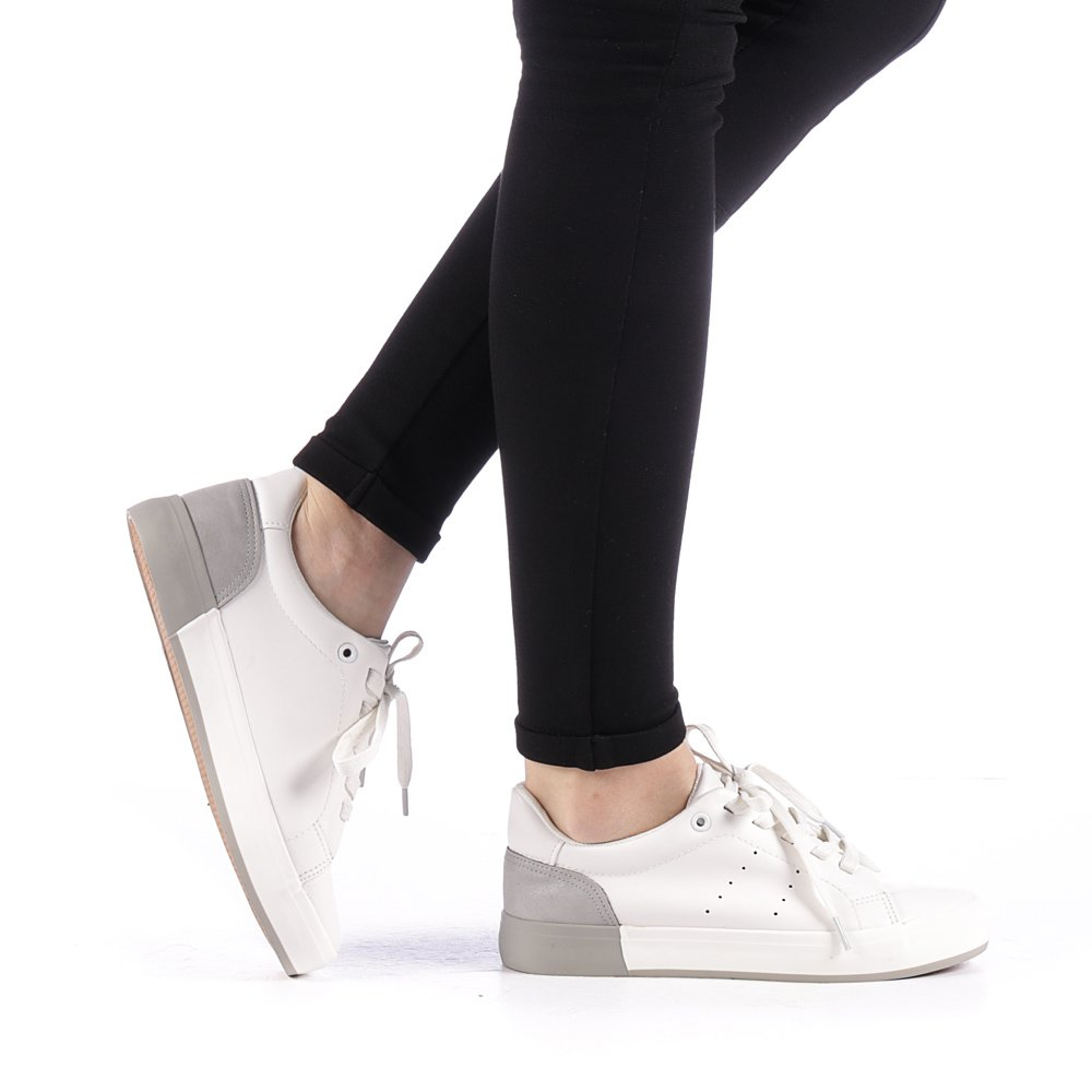Pantofi sport dama Melgar albi cu grena
