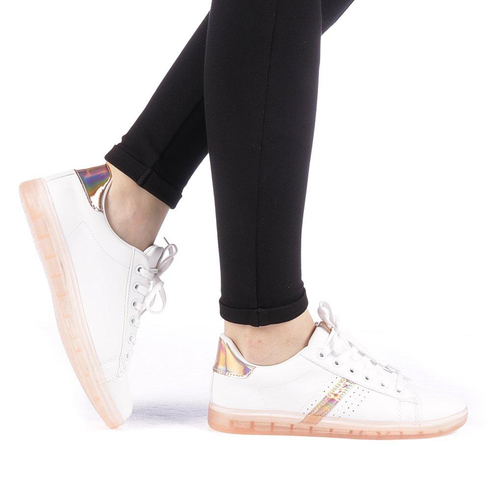 Pantofi sport dama Ladobi albi cu roz