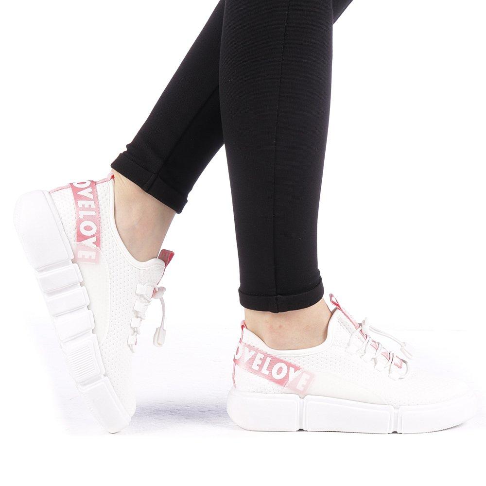 Pantofi sport dama Ajusta albi