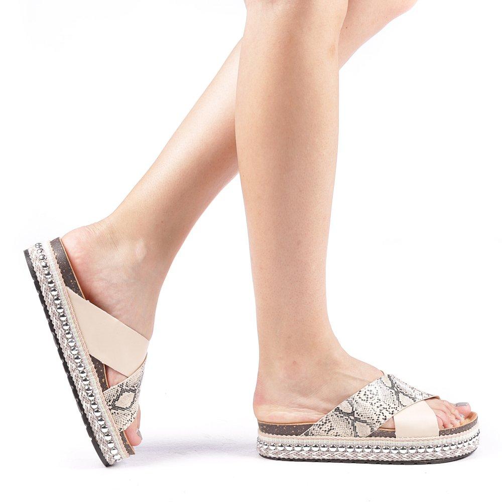 Papuci dama Repta bej