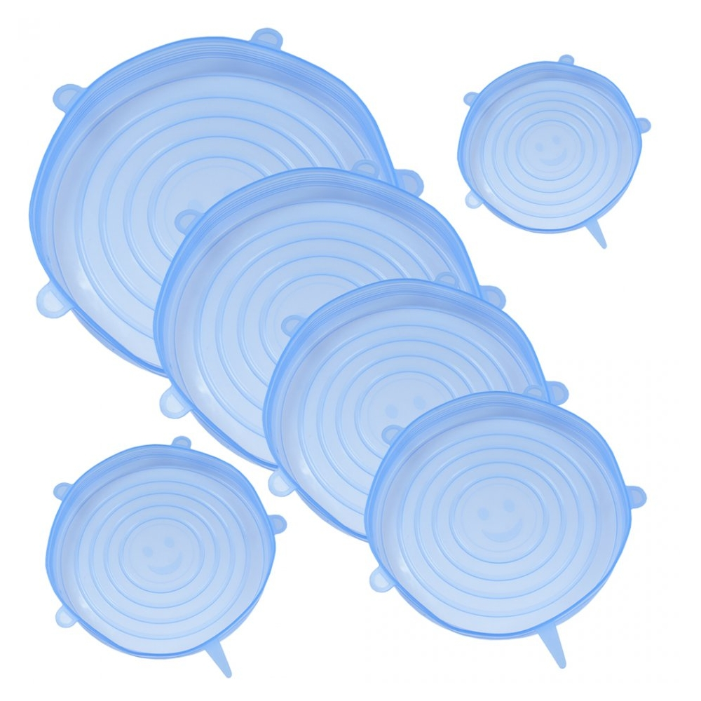Capace flexibile silicon, set de 6, extensibile, dimensiuni diferite, inlocuitor folie alimentara, capac silicon pentru vase/recipiente, 6 x capac pentru mentinerea prospetimii, capace elastice castron/bol, reutilizabile, capace vase, Maxx, bleu