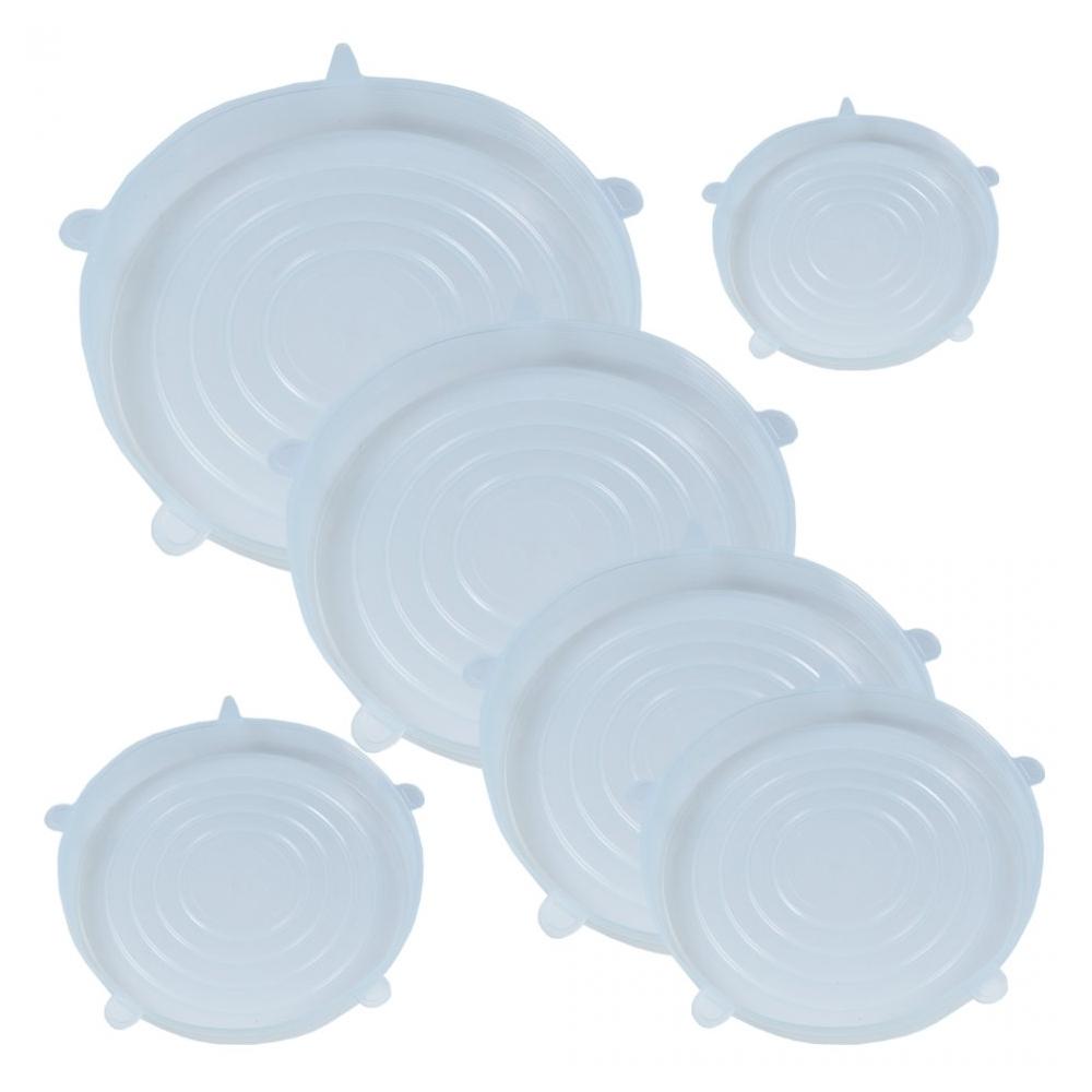 Capace flexibile silicon, set de 6, extensibile, inlocuitor folie strech alimentara, 6 x capac silicon flexibil pentru vase/recipiente, capace silicon elastic pentru mentinerea prospetimii, capace elastice castron/bol, capace flexibile, Quasar