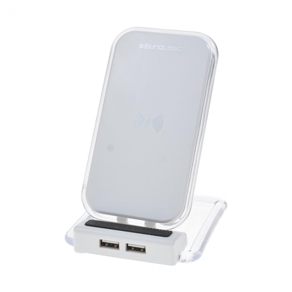 Incarcator Wireless, Rotativ, Charger Pad Cu 2 Porturi Usb Pentru Iphone X, Iphone 8, Galaxy Note 8, S9 / S9 Plus, S8 / S8 Edge / S8 Plus, Soundlogic, Alb