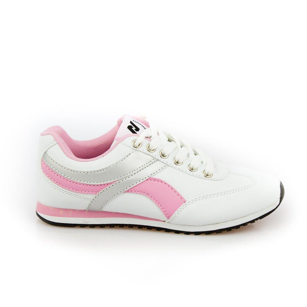 Pantofi sport dama Stefy 4 albi cu roz