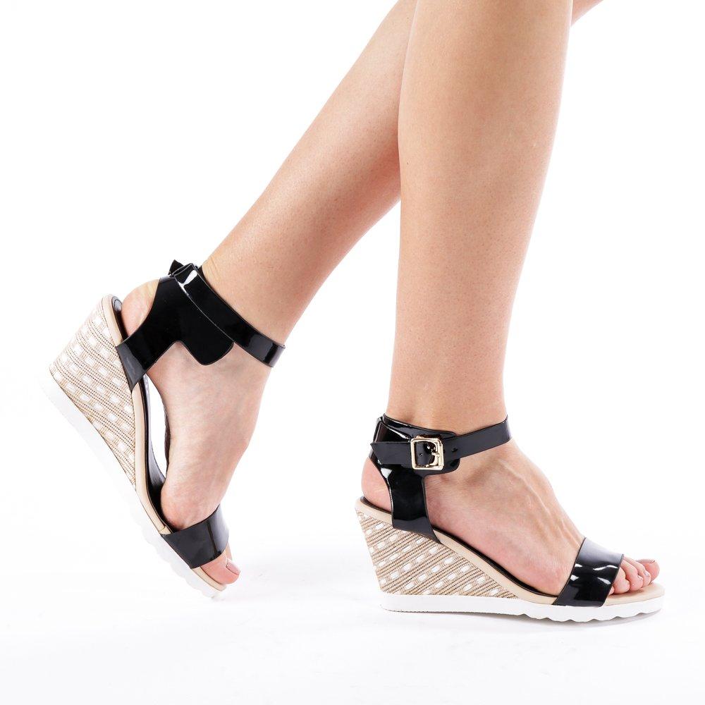 Sandale dama cu platforma Gena negre