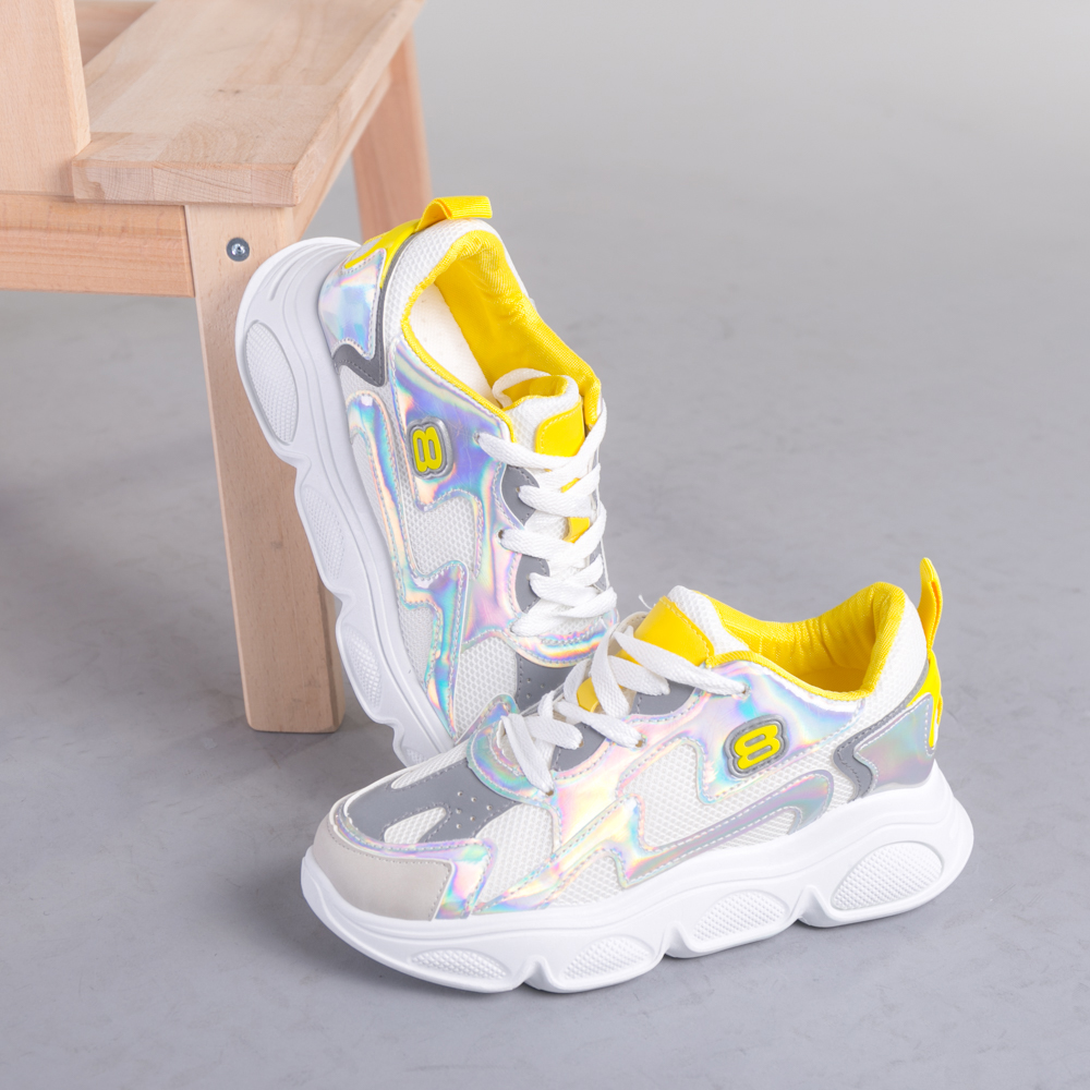 Pantofi sport dama Mony alb cu galben