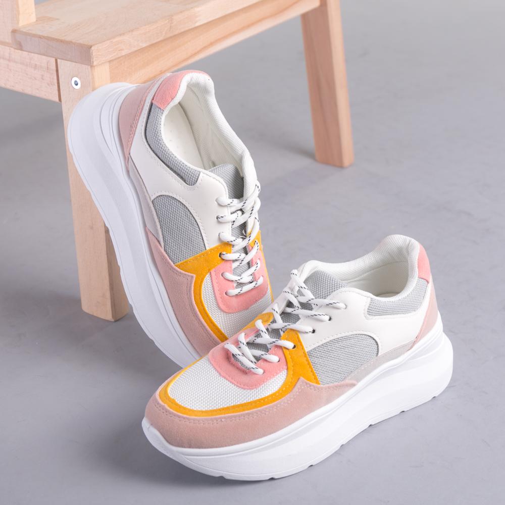 Pantofi sport dama Dafia alb cu galben