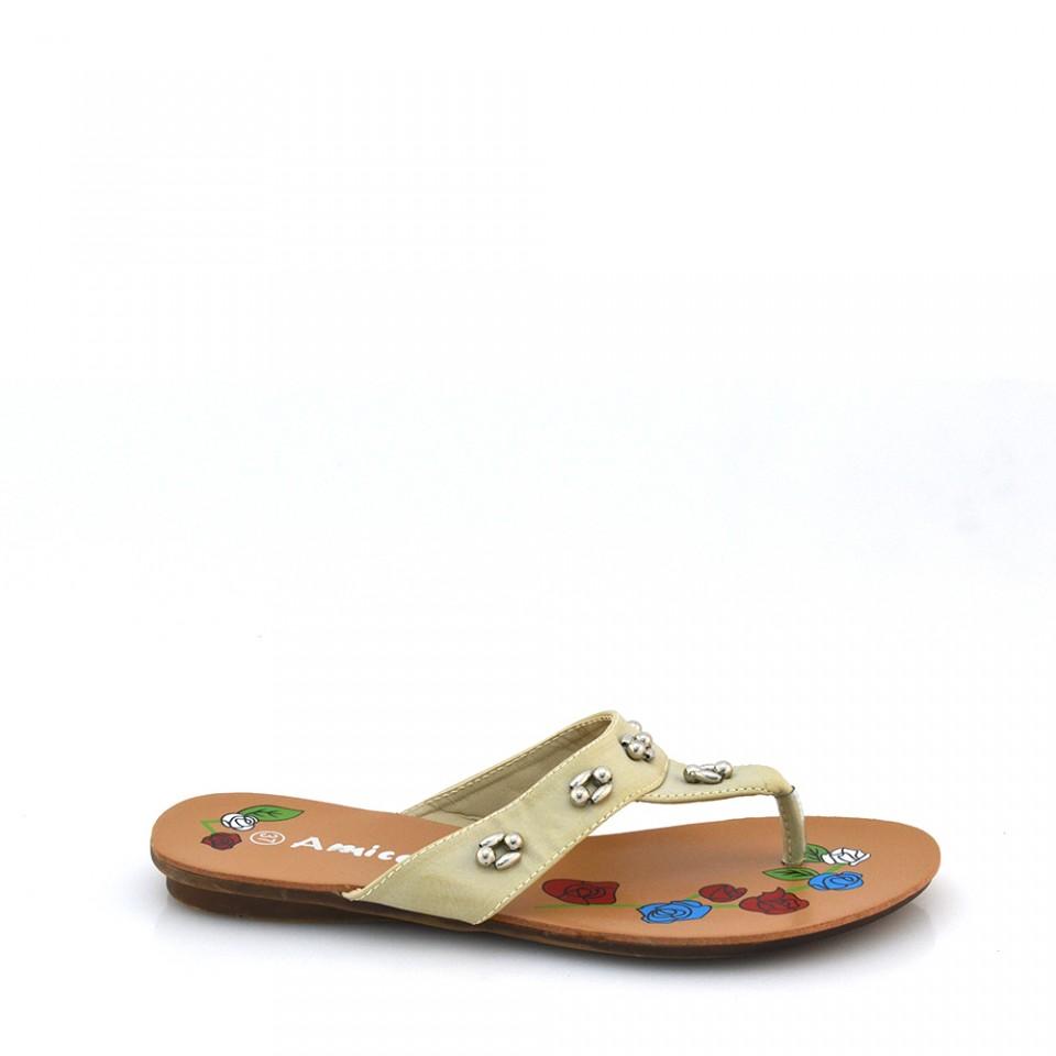 Papuci Dama Camelia Bej