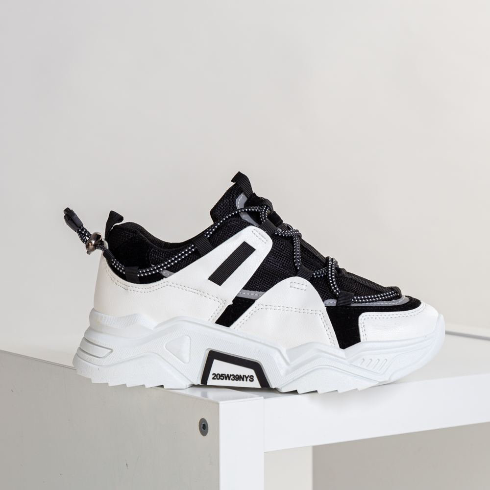 Pantofi sport dama Vain alb cu negru