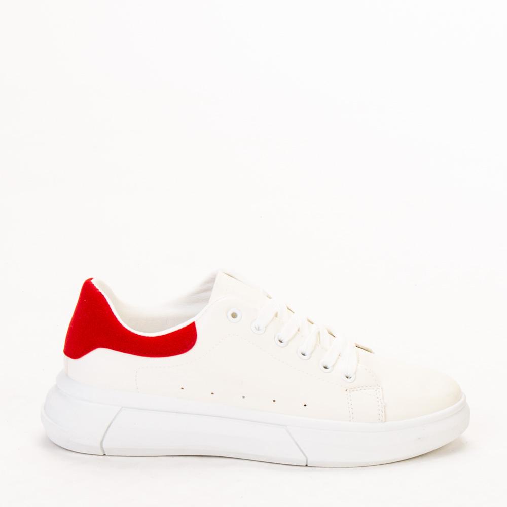 Pantofi sport barbati Barbu alb cu rosu