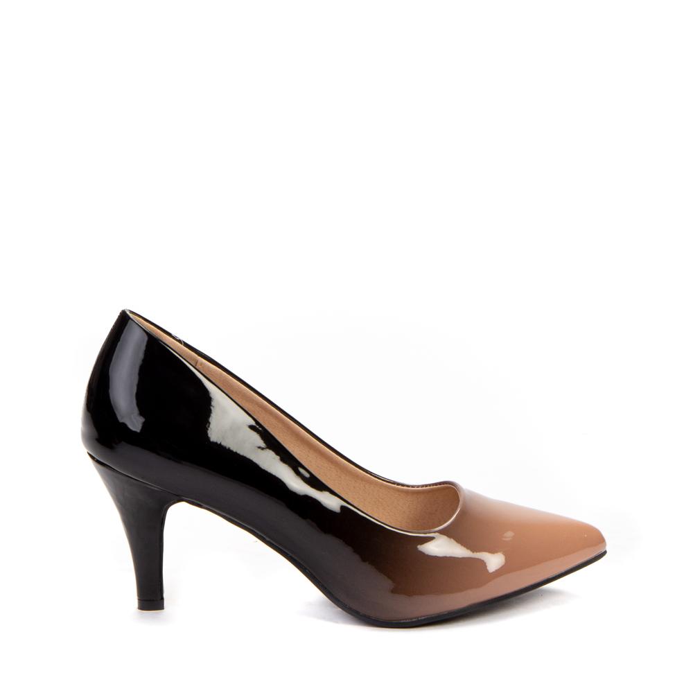 Pantofi dama Nusha negri cu khaki