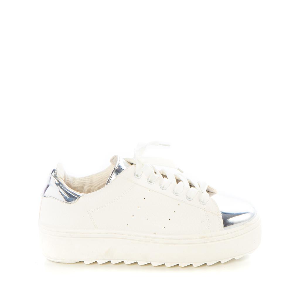 Pantofi sport dama Neville albi cu insertii argintii