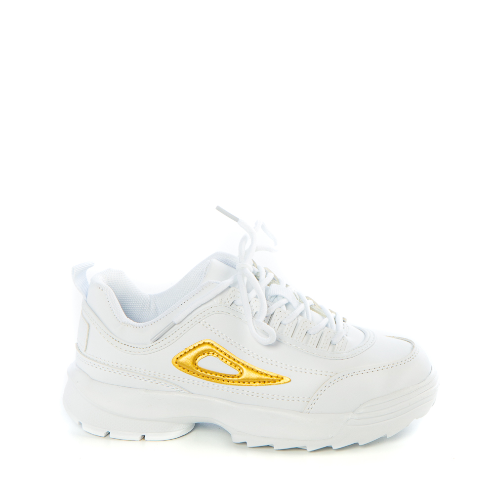Pantofi sport copii Abis albi cu galben