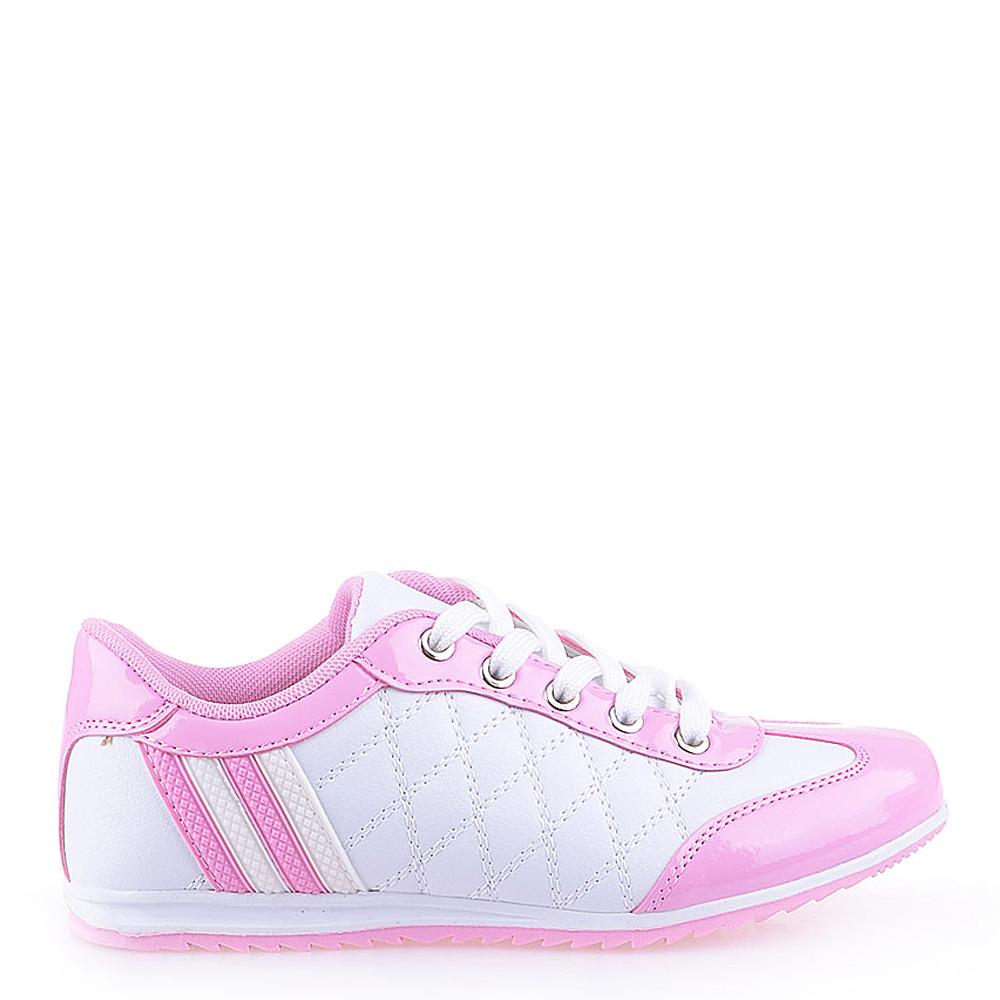 Pantofi sport dama Judith albi cu roz