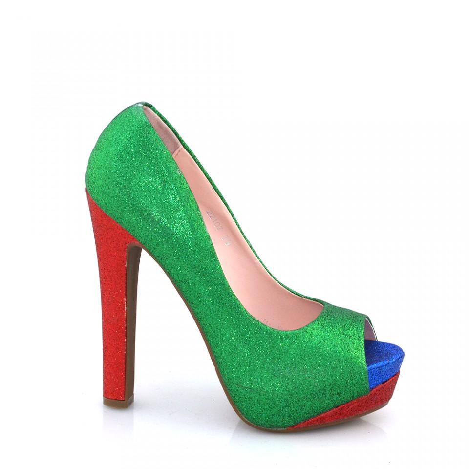 Pantofi Dama Verzi Cu Sclipici