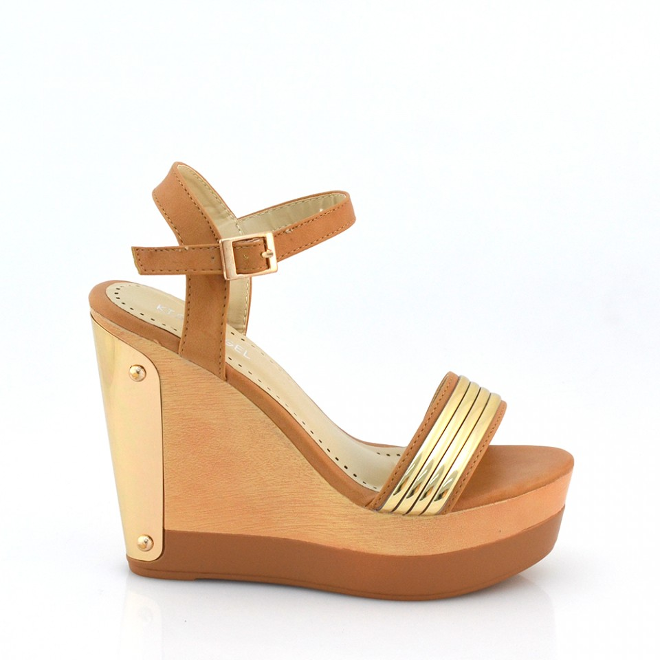 Sandale dama camel cu platforma