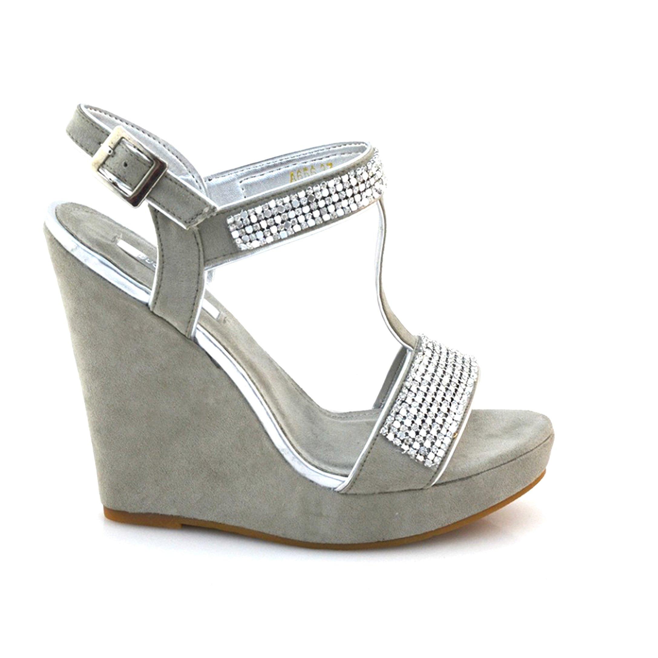 Sandale dama cu platforma si strasuri – gri