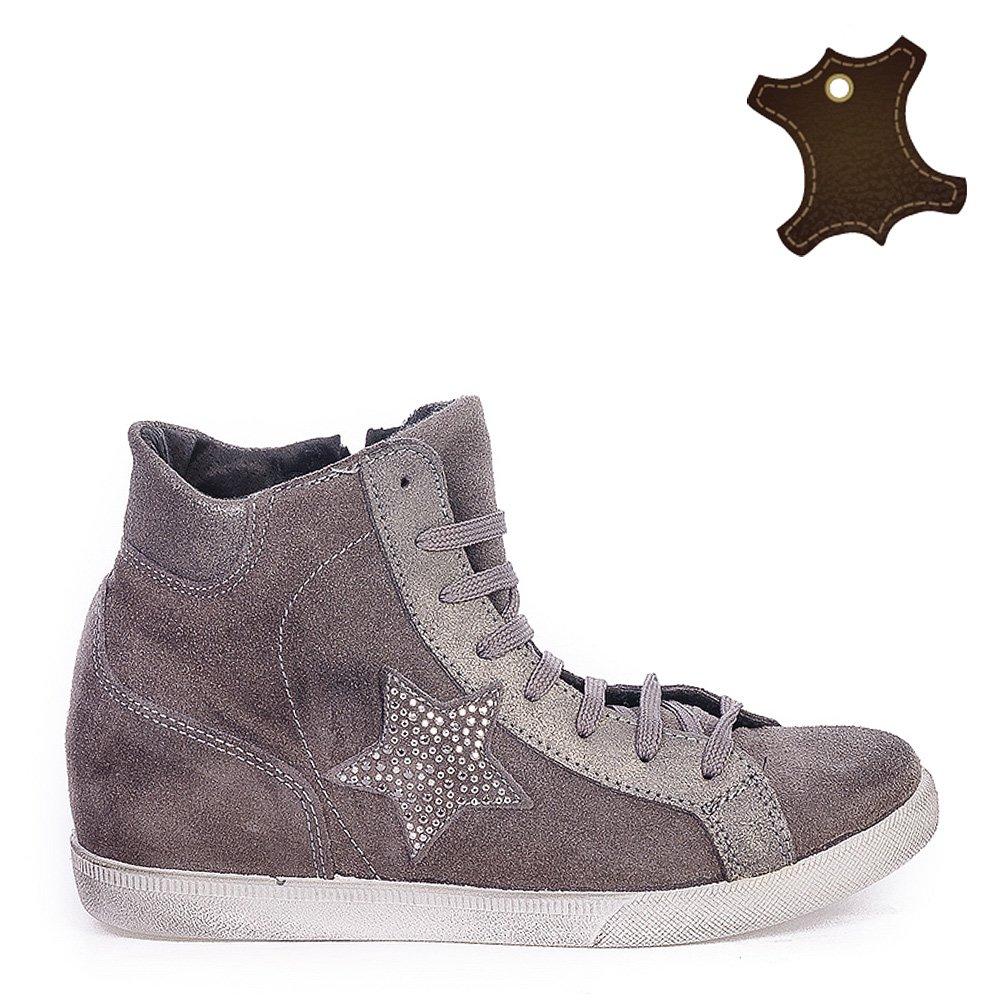 Pantofi Sport Dama Din Piele It-psd083 Gri