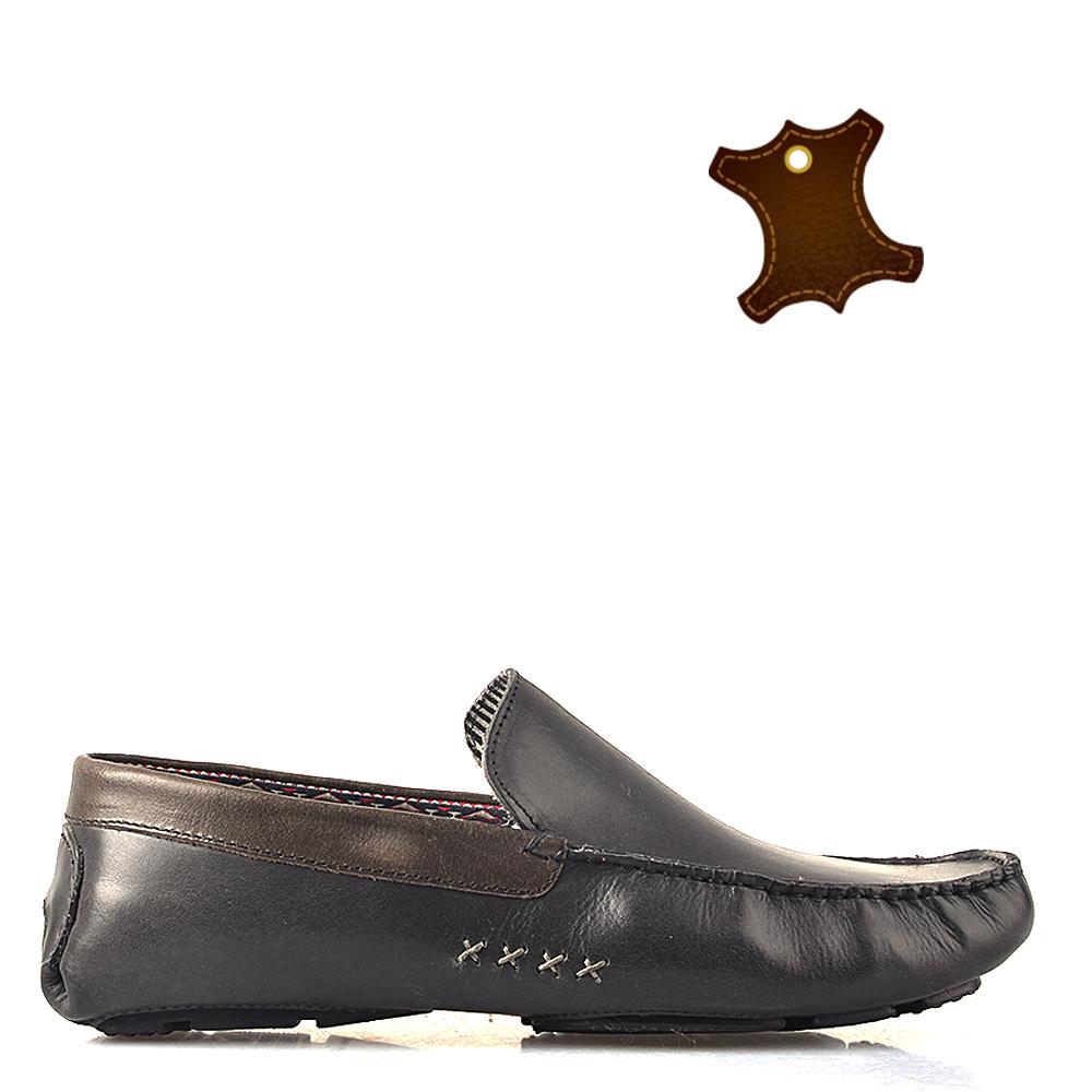 Pantofi barbati piele Alex negri cu gri
