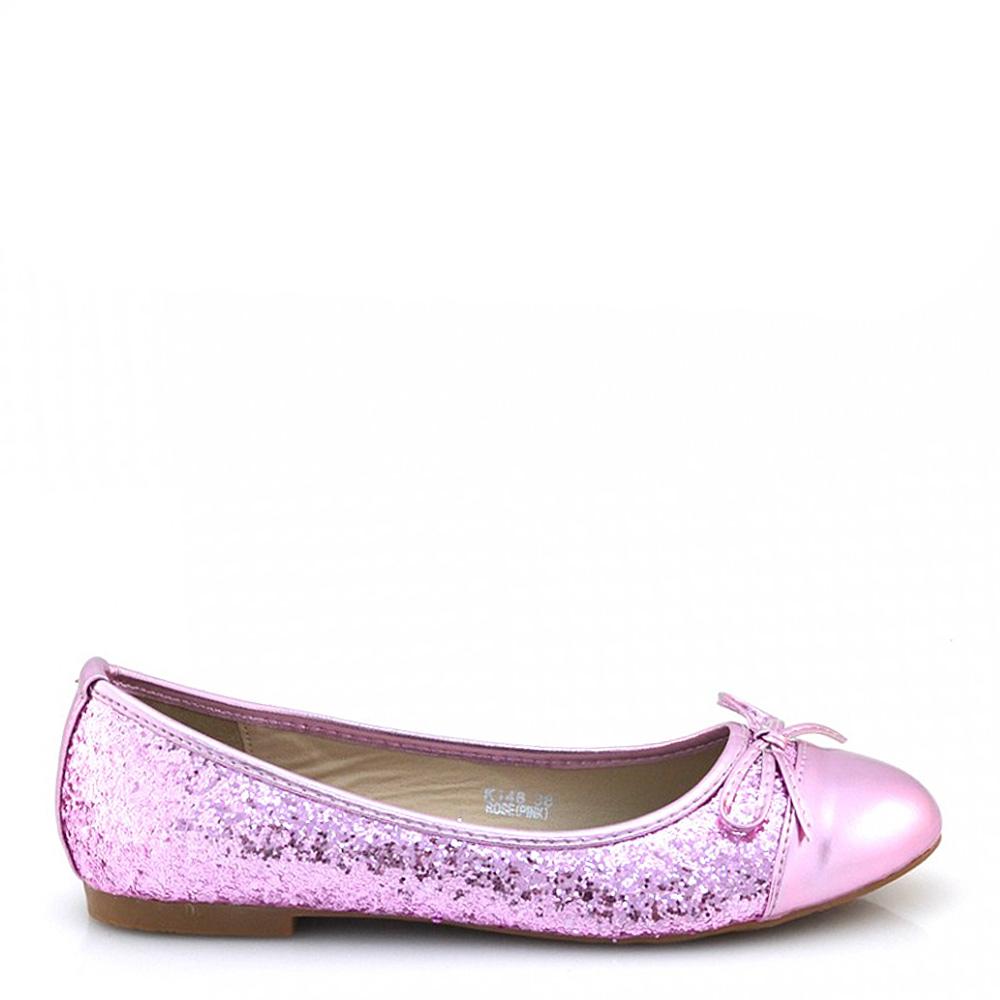 Balerini dama roz cu fundita si paiete