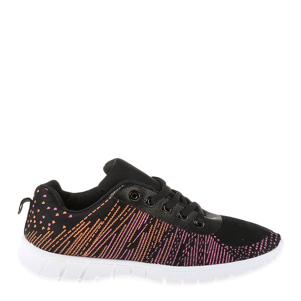 Pantofi sport dama Isadora negri cu insertii colorate