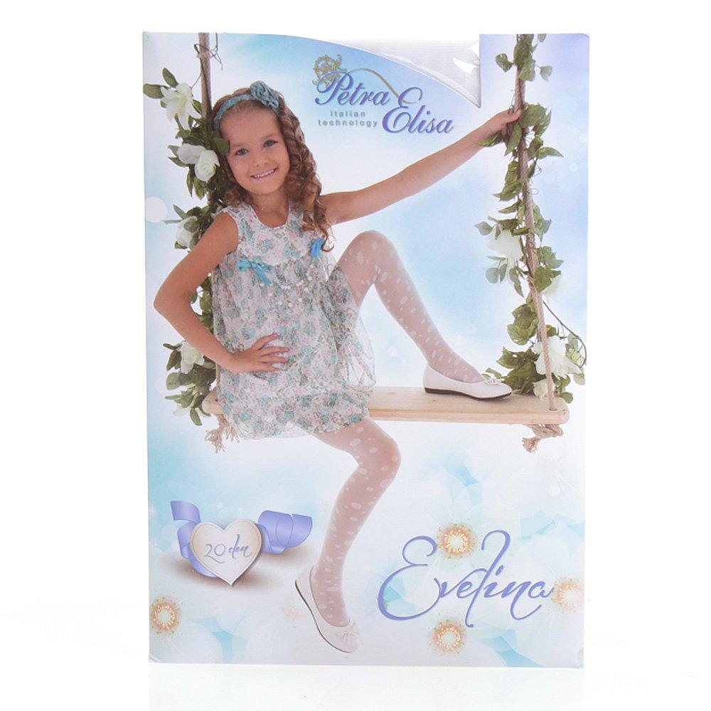 Ciorapi pantalon cu model pentru copiii Evelina 20DEN alb