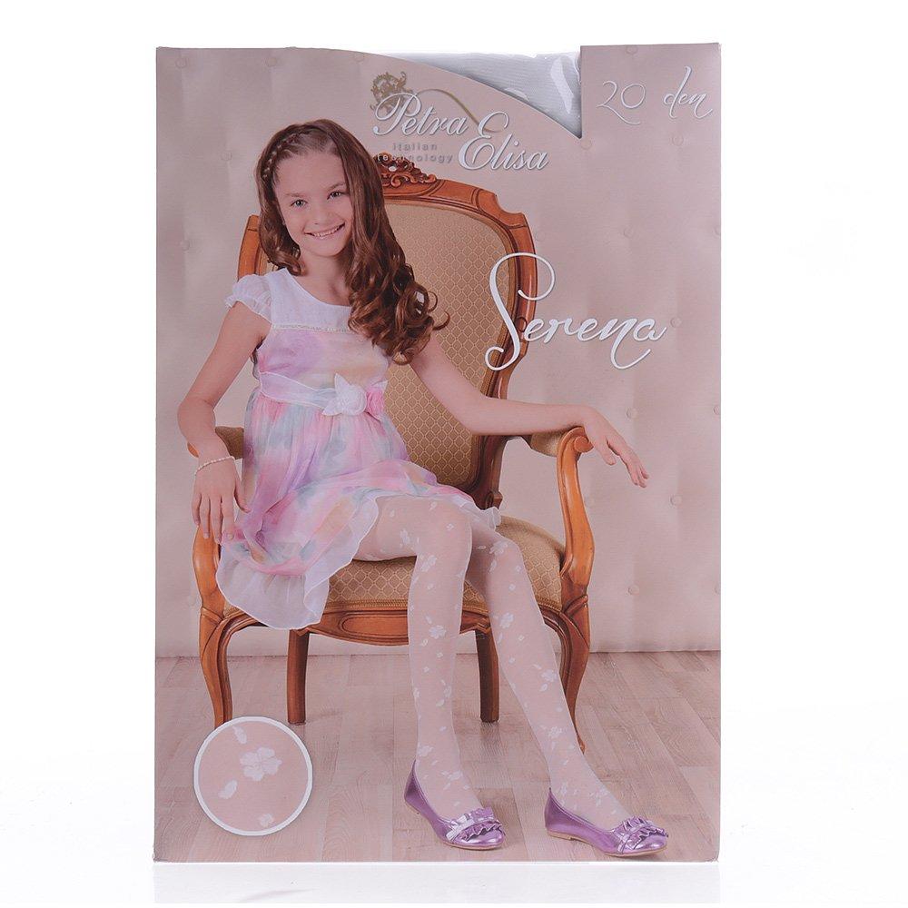 Ciorapi pantalon cu model pentru copiii Serena 20DEN albi
