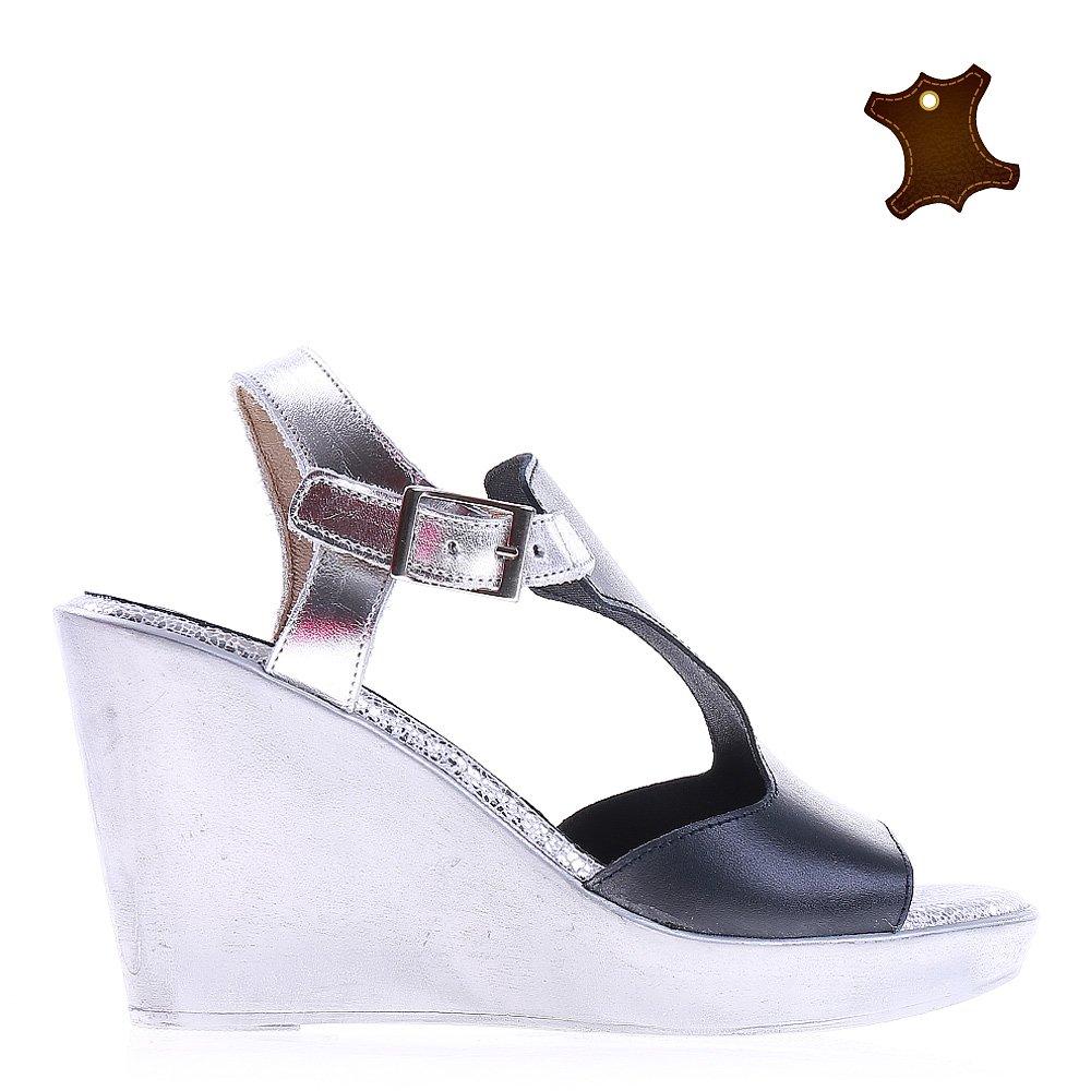 Sandale dama piele Kyla navy cu alb
