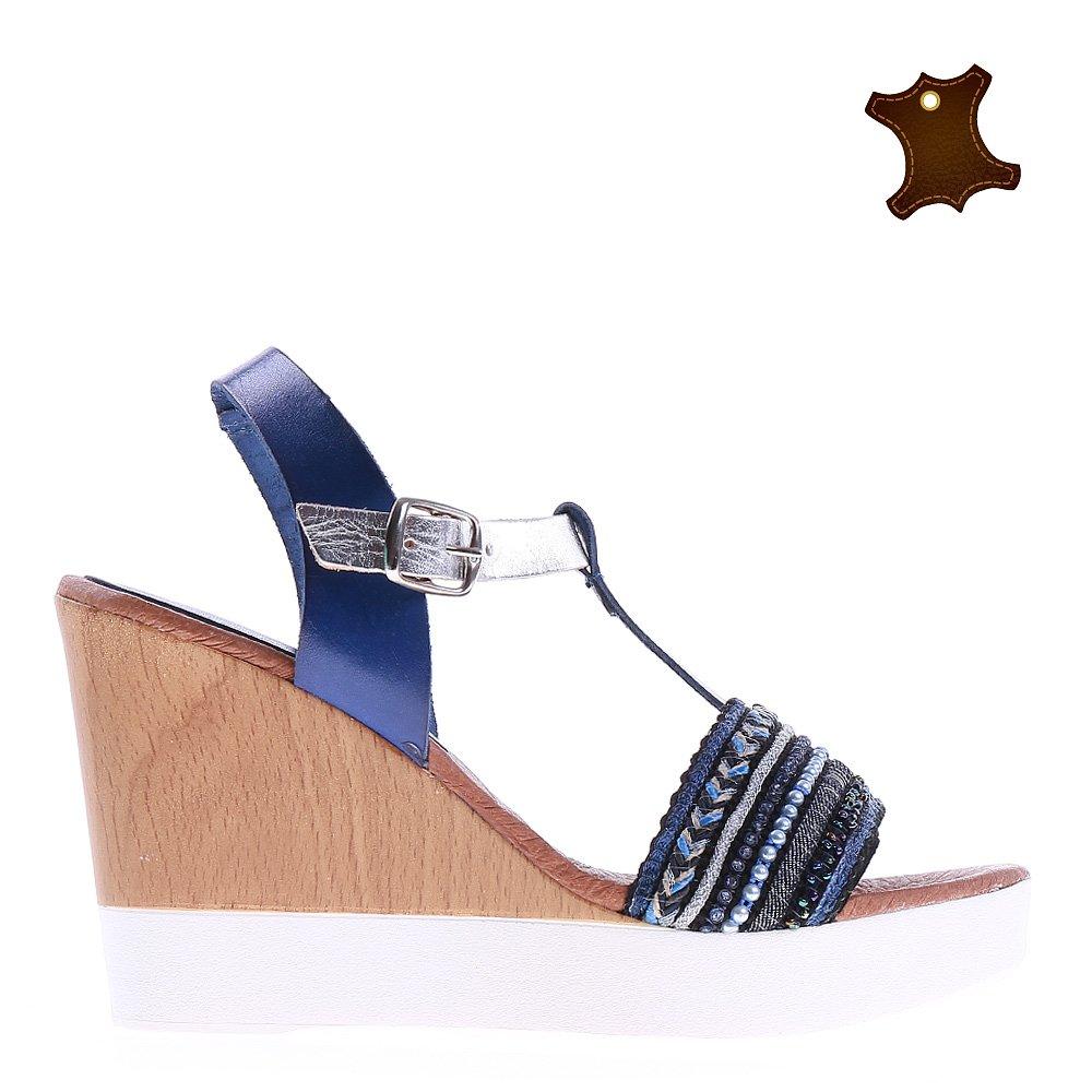 Sandale dama piele Brigida albastre
