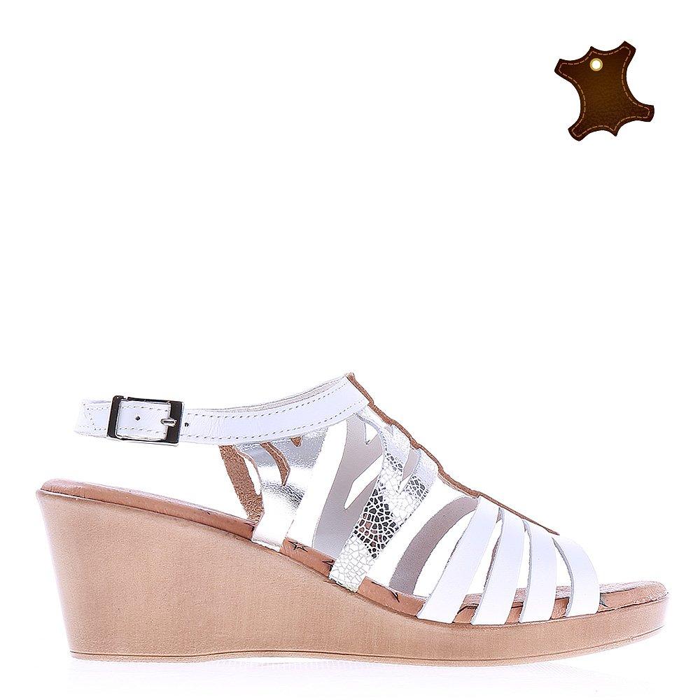 Sandale dama piele Saffron albe