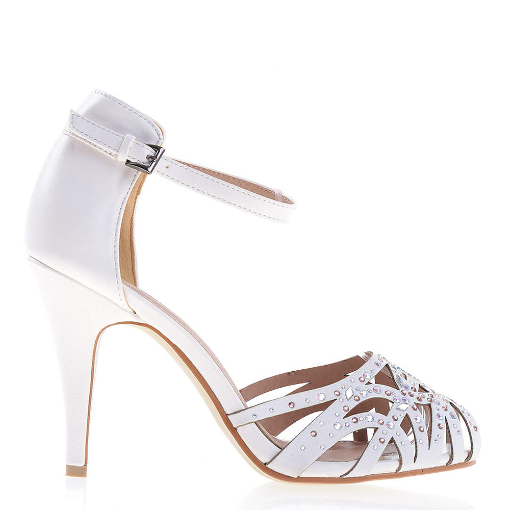 Sandale Dama Cu Toc Yulissa Albe