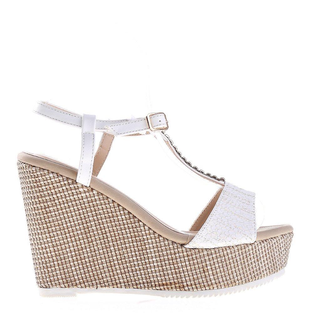 Sandale dama cu platforma Tanisha albe
