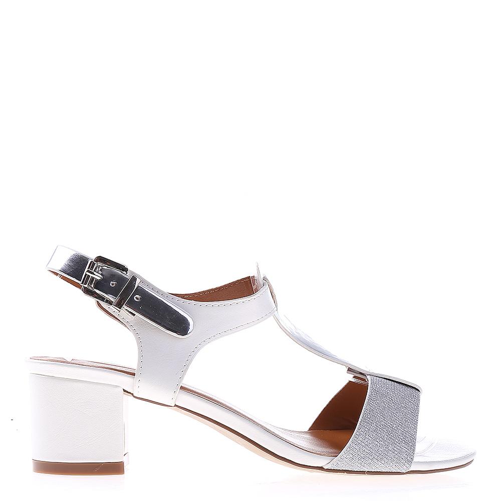 Sandale dama cu toc Tami albe