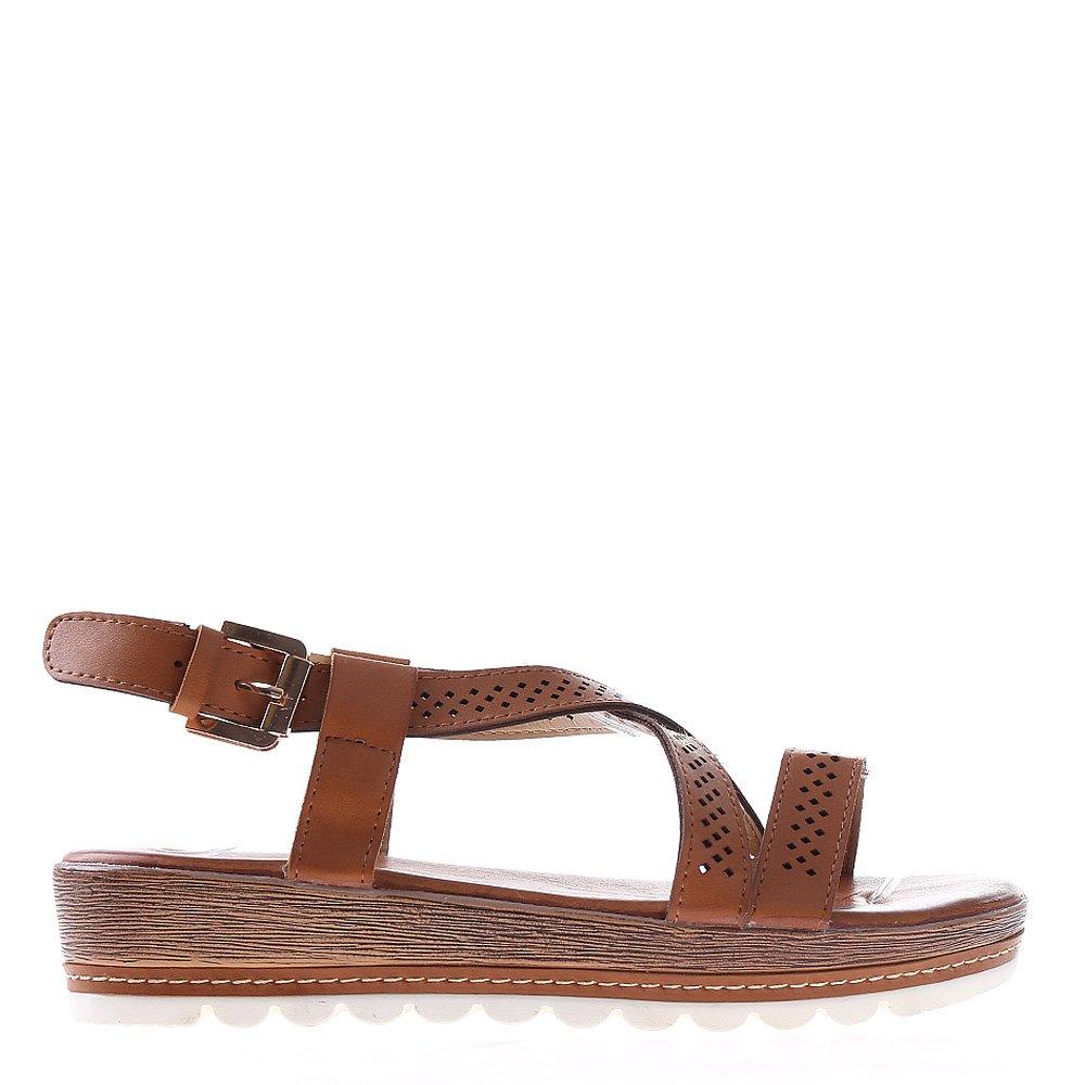 Sandale dama cu platforma Dympa camel