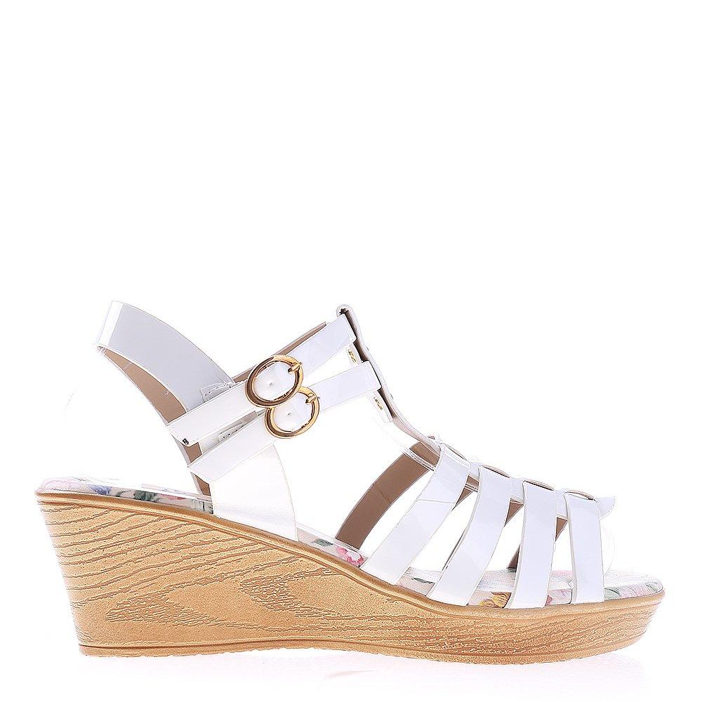 Sandale dama cu platforma Carissa albe