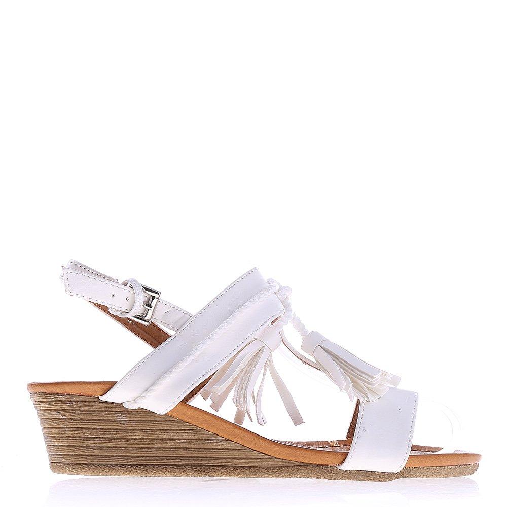 Sandale dama cu platforma Moya albe