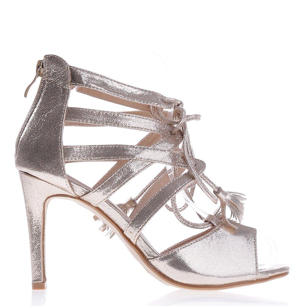 Sandale dama cu toc F53 aurii